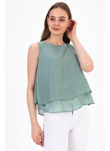 Tiffany&Tomato Sıfır Kol U Yaka Astarlı Şifon Bluz Yeşil